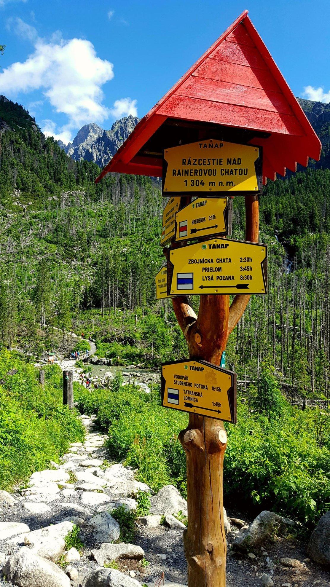 Útbaigazító táblák az egyik elágazásnál
