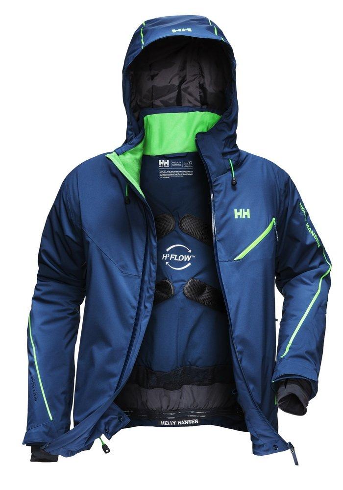 Racer férfi kabát, H2FLOW rendszerrel, amely a test hőjét légcsatornákba vezetve ad extra meleget, amikor pedig hűsre vágyunk, egy szellőzővel szélnek ereszthetjük a meleg, párás levegőt