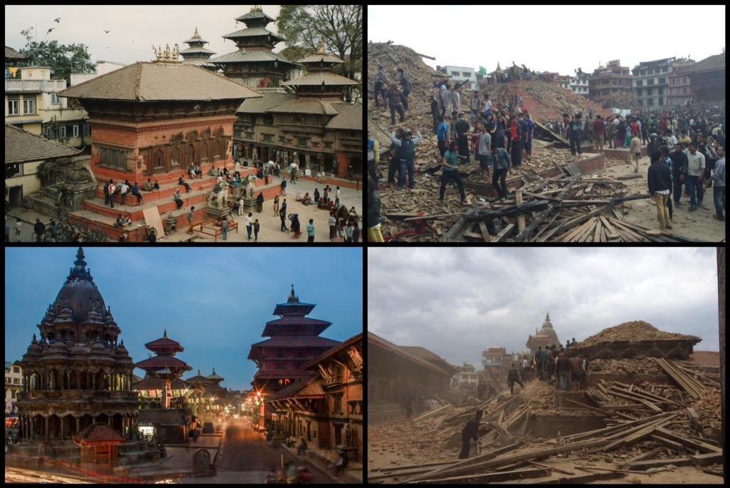 Kathmandu műemlékei a földrengés előtt és utána