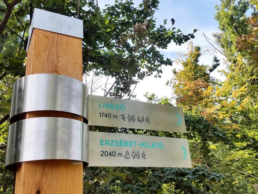 Közvetlenül az infó tábla mellett útjelző tábla is található.