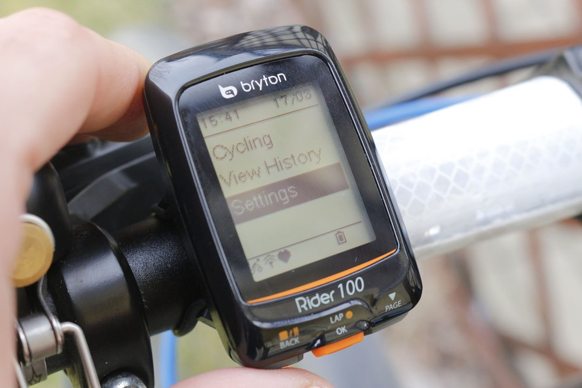 Bryton Rider 100 menü
