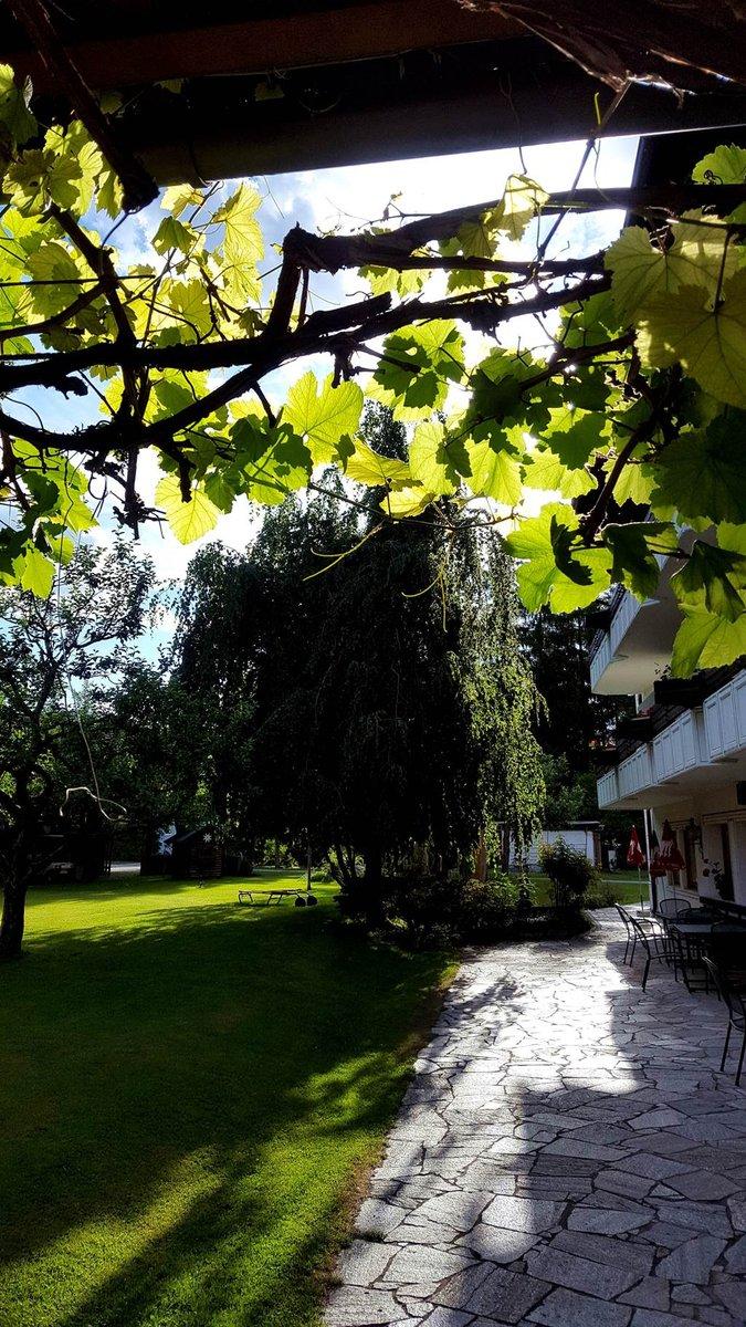 A Ferienpark Waldpension Putz hotel hangulatos kertje a naplementében