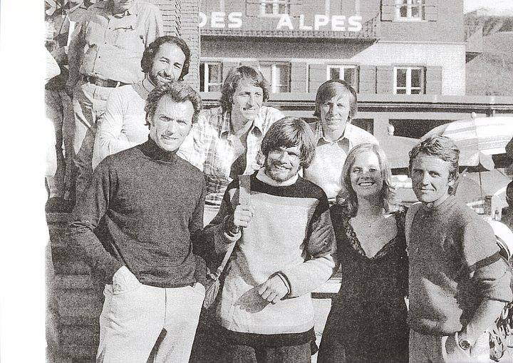 Az Eiger Sanction forgatásakor Clint Eastwoodal, Messnerrel és Heidi Brühllel