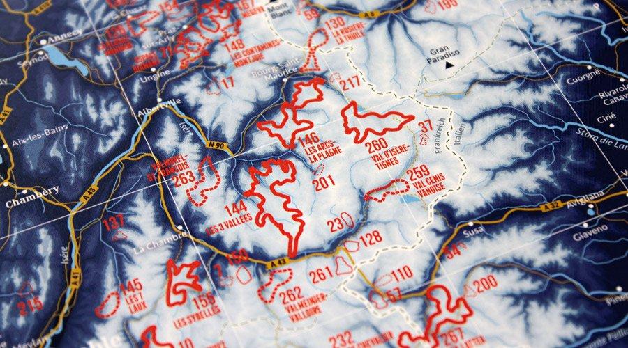 Az egyes síterepek határvonalai