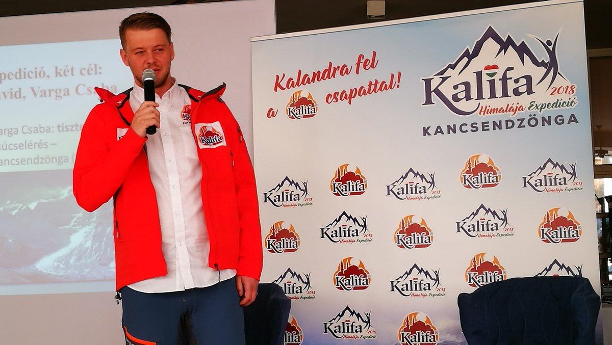 Varga Csaba a Kalifa Himalája Expedíció 2018 - Kancsendzönga hivatalos sajtótájékoztatóján