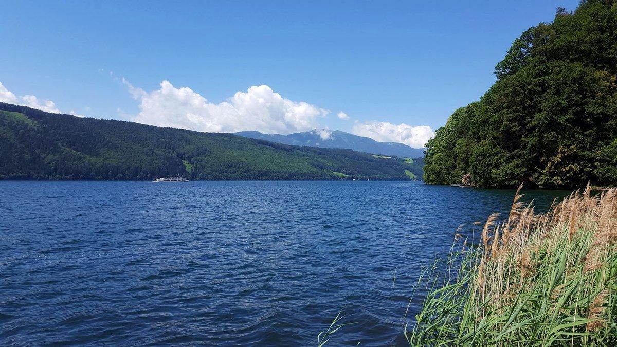Kilátás a Schilf bivakból a Millstatti-tó partján