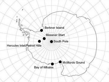 Déli-sarki és Antarktika-expedíciók megszokott starthelyei