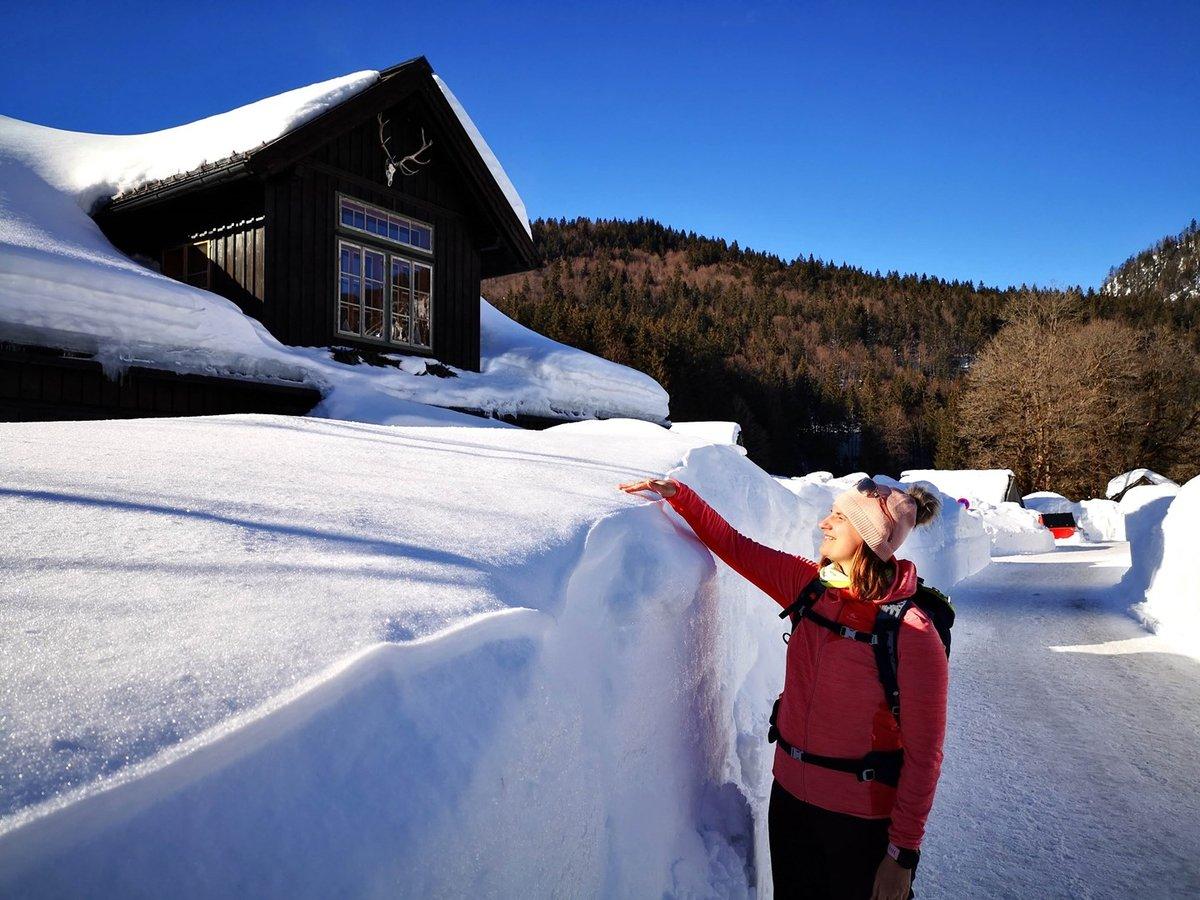 2 m magas hófal a Blaa Alm-on