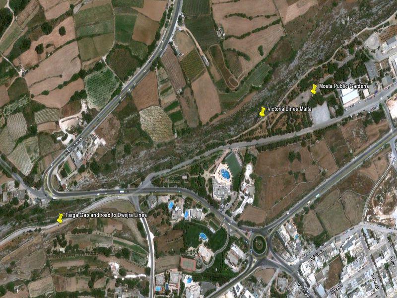 Targa gap (szakadék) Mosta Public Gardens felülnézetből