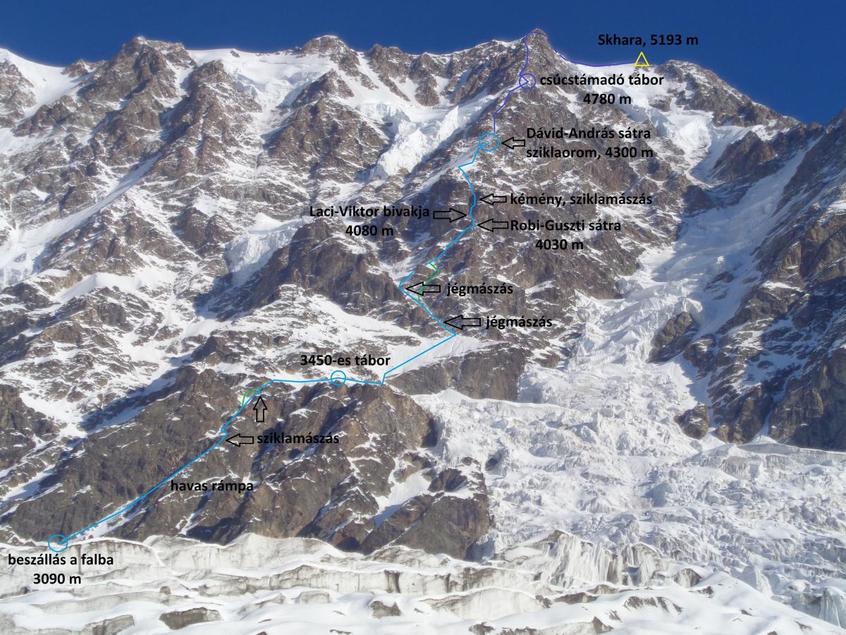 Shkhara déli fal: még két nap jó idő kellett volna-1