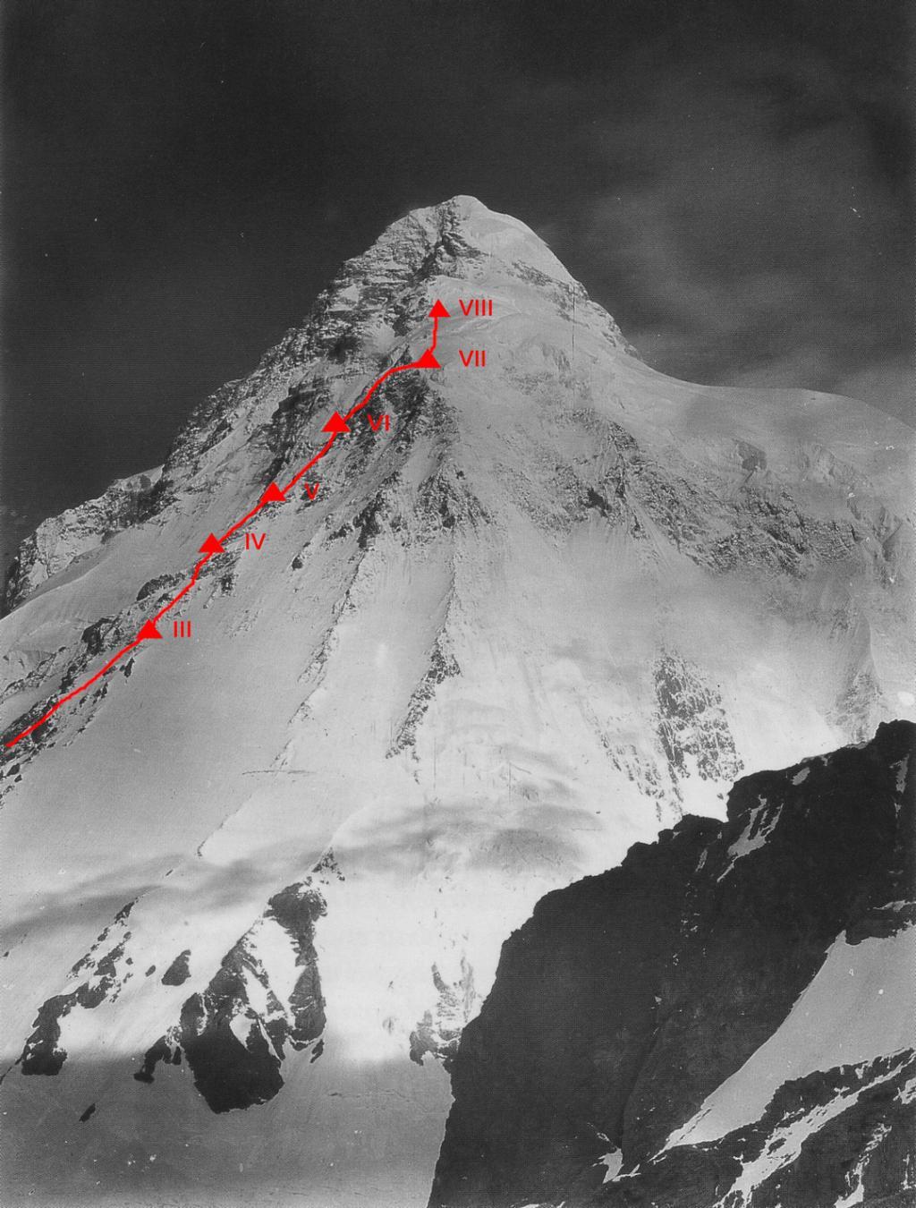 K2 1953-as expedíció útvonala